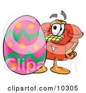 Clipart Picture Of A Red Telephone Mascot Cartoon Character Standing Beside An Easter Egg