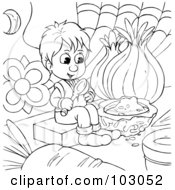Royalty Free RF Clipart Illustration Of A Coloring Page Outline Of A Tiny Boy Eating Food by Alex Bannykh