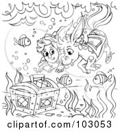 Royalty Free RF Clipart Illustration Of A Coloring Page Outline Of A Boy And Horse Swimming To A Treasure Chest