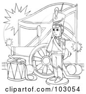 Royalty Free RF Clipart Illustration Of A Coloring Page Outline Of A Soldier By A Flag And Canon