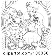 Coloring Page Outline Of Cinderellas Evil Step Sisters Putting On Makeup