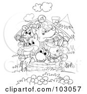 Royalty Free RF Clipart Illustration Of A Coloring Page Outline Of A Wolf Mouse Fox Frog And Rabbit Packed In A Tiny House