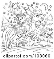Royalty Free RF Clipart Illustration Of A Coloring Page Outline Of A Boy Riding A Donkey Horse by Alex Bannykh