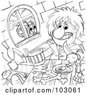 Royalty Free RF Clipart Illustration Of A Coloring Page Outline Of Puss In Boots Watching A Man Eat Through A Window by Alex Bannykh