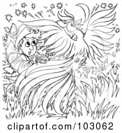 Royalty Free RF Clipart Illustration Of A Coloring Page Outline Of A Boy With A Phoenix