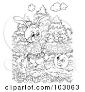 Royalty Free RF Clipart Illustration Of A Coloring Page Outline Of A Rabbit Watching A Happy Ball