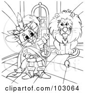 Royalty Free RF Clipart Illustration Of A Coloring Page Outline Of Puss In Boots By A Lion