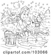 Royalty Free RF Clipart Illustration Of A Coloring Page Outline Of A Boy Releasing A Fish