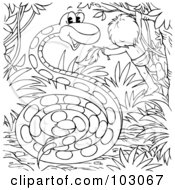 Royalty Free RF Clipart Illustration Of A Coloring Page Outline Of A Boy And Giant Snake