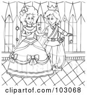 Royalty Free RF Clipart Illustration Of A Coloring Page Outline Of Cinderella Dancing With A Prince