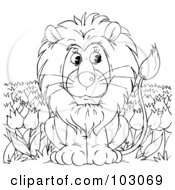 Royalty Free RF Clipart Illustration Of A Coloring Page Outline Of A Lion In A Tulip Field