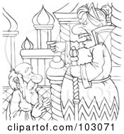 Royalty Free RF Clipart Illustration Of A Coloring Page Outline Of A Mean Queen Yelling At An Old Man