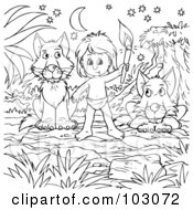 Royalty Free RF Clipart Illustration Of A Coloring Page Outline Of A Boy Living With Wolves by Alex Bannykh