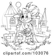 Royalty Free RF Clipart Illustration Of A Coloring Page Outline Of Puss In Boots By A Castle