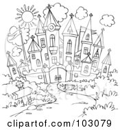 Royalty Free RF Clipart Illustration Of A Coloring Page Outline Of A Winding Path Leading To A Castle by Alex Bannykh