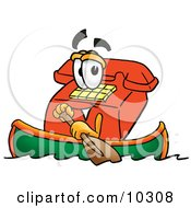 Clipart Picture Of A Red Telephone Mascot Cartoon Character Rowing A Boat