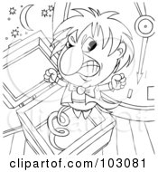 Royalty Free RF Clipart Illustration Of A Coloring Page Outline Of A Mad Jack In The Box