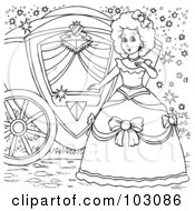Royalty Free RF Clipart Illustration Of A Coloring Page Outline Of Cinderella By Her Carriage