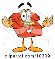 Red Telephone Mascot Cartoon Character With Welcoming Open Arms