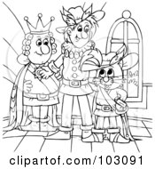 Royalty Free RF Clipart Illustration Of A Coloring Page Outline Of Puss In Boots With The King by Alex Bannykh