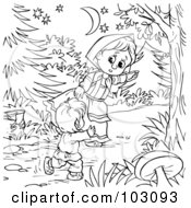 Royalty Free RF Clipart Illustration Of A Coloring Page Outline Of A Girl Leading A Boy Through The Woods
