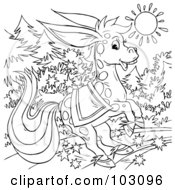 Royalty Free RF Clipart Illustration Of A Coloring Page Outline Of A Magical Donkey by Alex Bannykh
