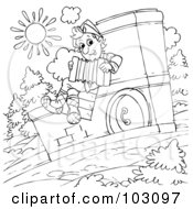 Royalty Free RF Clipart Illustration Of A Coloring Page Outline Of A Boy Playing An Accordian