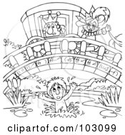Royalty Free RF Clipart Illustration Of A Coloring Page Outline Of Puss In Boots Over A Drowing Boy by Alex Bannykh
