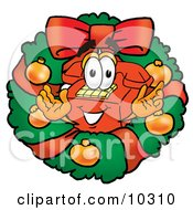 Red Telephone Mascot Cartoon Character In The Center Of A Christmas Wreath