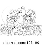 Royalty Free RF Clipart Illustration Of A Coloring Page Outline Of A Bear FoxWolf Frog And Other Animals With A Collapsed Cabin