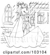Royalty Free RF Clipart Illustration Of A Coloring Page Outline Of A Soldier In A Paper Boat