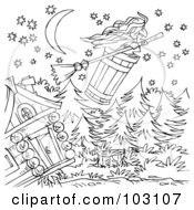 Royalty Free RF Clipart Illustration Of A Coloring Page Outline Of A Witch Flying Away In A Barrel by Alex Bannykh