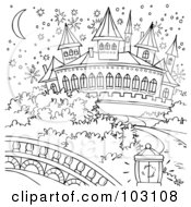 Royalty Free RF Clipart Illustration Of A Coloring Page Outline Of A Magical Cinderella Castle