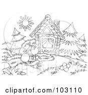 Coloring Page Outline Of A Vagrant Frog Approaching A Cabin