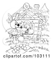 Coloring Page Outline Of A Wandering Rabbit By A House