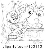 Royalty Free RF Clipart Illustration Of A Coloring Page Outline Of A Mean Giant Looking At A Tiny Boy by Alex Bannykh