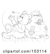 Royalty Free RF Clipart Illustration Of A Coloring Page Outline Of A Bear Leaning Against A Sack And Watching A Floating Feather