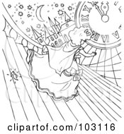 Royalty Free RF Clipart Illustration Of A Coloring Page Outline Of Cinderella Dropping Her Glass Slipper