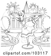 Royalty Free RF Clipart Illustration Of A Coloring Page Outline Of A Girl Dancing By Swans