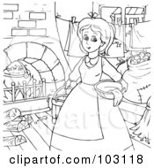 Royalty Free RF Clipart Illustration Of A Coloring Page Outline Of Cinderella Doing Chores