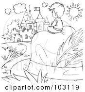 Royalty Free RF Clipart Illustration Of A Coloring Page Outline Of A Tiny Boy Sitting On A Hat Near A Castle by Alex Bannykh