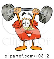 Clipart Picture Of A Red Telephone Mascot Cartoon Character Holding A Heavy Barbell Above His Head