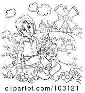 Royalty Free RF Clipart Illustration Of A Coloring Page Outline Of Puss In Boots By A Boy