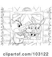 Royalty Free RF Clipart Illustration Of A Coloring Page Outline Of A Fox Talking To A Mouse Rabbit And Frog In A Window