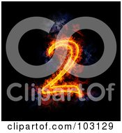 Royalty Free RF Clipart Illustration Of A Blazing Number 2 Symbol by Michael Schmeling
