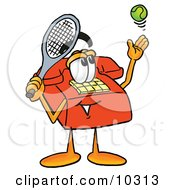 Clipart Picture Of A Red Telephone Mascot Cartoon Character Preparing To Hit A Tennis Ball
