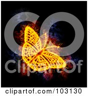 Royalty Free RF Clipart Illustration Of A Blazing Butterfly Symbol