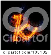 Royalty Free RF Clipart Illustration Of A Blazing Lowercase K Symbol