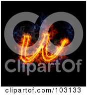 Royalty Free RF Clipart Illustration Of A Blazing Lowercase U Symbol