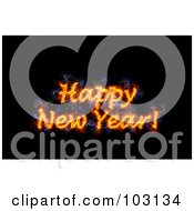 Royalty Free RF Clipart Illustration Of A Blazing Happy New Year Greeting